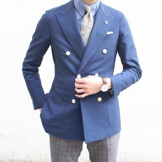 Wie kombinieren: dunkelblaues Zweireiher-Sakko, hellblaues Businesshemd, graue Anzughose mit Schottenmuster, olivgrüne Krawatte mit Paisley-Muster