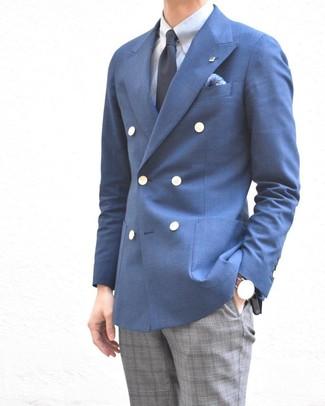 Wie kombinieren: blaues Zweireiher-Sakko, hellblaues Businesshemd, graue Anzughose mit Schottenmuster, dunkelblaue Krawatte