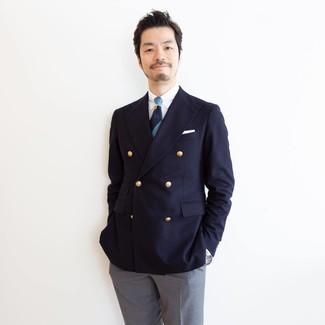 Wie kombinieren: dunkelblaues Zweireiher-Sakko, weißes Businesshemd, graue Anzughose, dunkelblaue horizontal gestreifte Krawatte