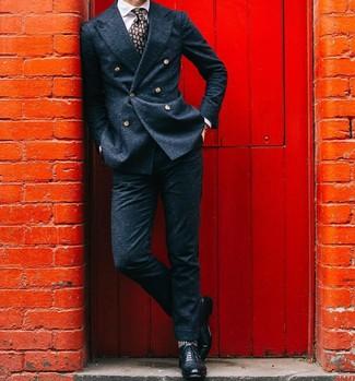 Schwarze Leder Brogues kombinieren: Tragen Sie ein dunkelblaues Wollzweireiher-sakko und eine dunkelblaue Wollanzughose, um vor Klasse und Perfektion zu strotzen. Wählen Sie die legere Option mit schwarzen Leder Brogues.