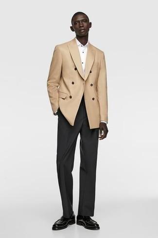 Jacke kombinieren – 1200+ Herren Outfits: Entscheiden Sie sich für eine Jacke und eine schwarze Anzughose, um vor Klasse und Perfektion zu strotzen. Schwarze Leder Slipper sind eine kluge Wahl, um dieses Outfit zu vervollständigen.