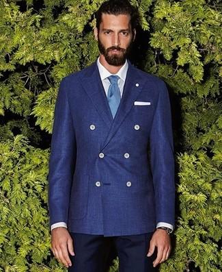 Wie kombinieren: blaues Zweireiher-Sakko, weißes Businesshemd, dunkelblaue Anzughose, hellblaue Krawatte