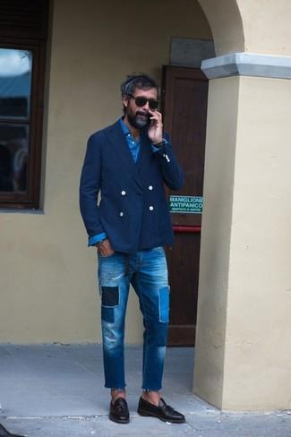 blaue Jeans mit Flicken von Alexander McQueen