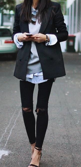 grauer Pullover mit einem Rundhalsausschnitt von Seidensticker