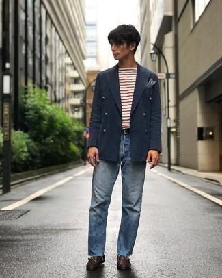 Schwarzen Segeltuchgürtel kombinieren – 92 Herren Outfits: Kombinieren Sie ein dunkelblaues Zweireiher-Sakko mit einem schwarzen Segeltuchgürtel für einen bequemen Alltags-Look. Fühlen Sie sich mutig? Ergänzen Sie Ihr Outfit mit dunkelbraunen Monks aus Leder.