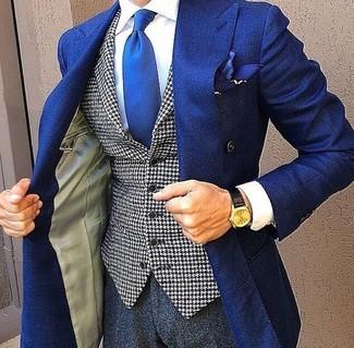 Wie kombinieren: blaues Zweireiher-Sakko, weiße und schwarze Weste mit Hahnentritt-Muster, weißes Businesshemd, dunkelgraue Anzughose