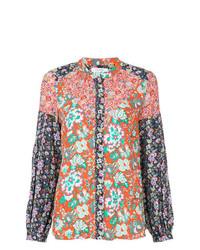 mehrfarbige bedruckte Bluse mit Knöpfen von Frame Denim