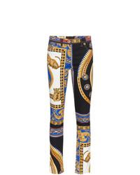 mehrfarbige bedruckte enge Jeans von Versace