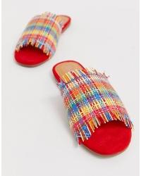 mehrfarbige bedruckte flache Sandalen aus Segeltuch von Boohoo