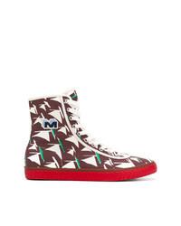 mehrfarbige bedruckte hohe Sneakers aus Segeltuch