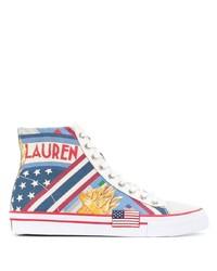 mehrfarbige bedruckte hohe Sneakers aus Segeltuch von Ralph Lauren
