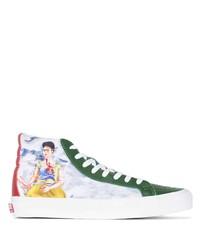 mehrfarbige bedruckte hohe Sneakers aus Segeltuch von Vans