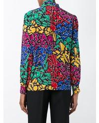 mehrfarbige bedruckte Langarmbluse von Saint Laurent