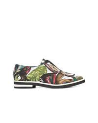 mehrfarbige bedruckte Leder Oxford Schuhe von Oscar de la Renta