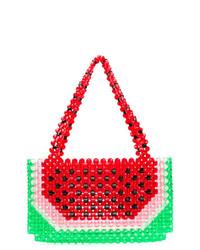 mehrfarbige bedruckte Lederhandtasche von Susan Alexandra