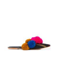 mehrfarbige bedruckte Segeltuch Pantoletten von Figue