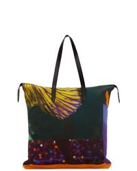 mehrfarbige bedruckte Shopper Tasche aus Leder von Dries Van Noten