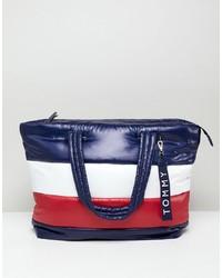 mehrfarbige bedruckte Shopper Tasche aus Leder von Tommy Hilfiger