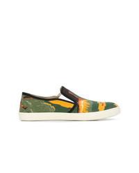 mehrfarbige bedruckte Slip-On Sneakers aus Segeltuch