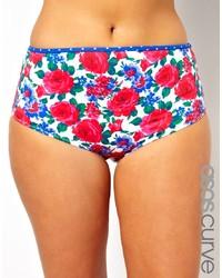 mehrfarbige Bikinihose mit Blumenmuster von Asos Curve