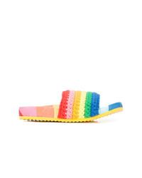 mehrfarbige flache Sandalen aus Häkel von Mira Mikati