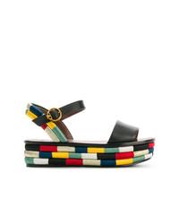 mehrfarbige flache Sandalen aus Leder von Tory Burch