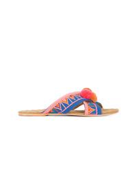 mehrfarbige flache Sandalen aus Segeltuch von Figue