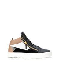 mehrfarbige hohe Sneakers aus Leder