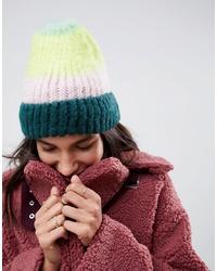 mehrfarbige horizontal gestreifte flauschige Mütze von ASOS DESIGN