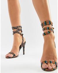 mehrfarbige horizontal gestreifte Leder Sandaletten