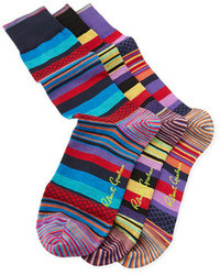 mehrfarbige horizontal gestreifte Socken