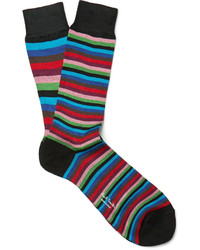 mehrfarbige horizontal gestreifte Socken von Paul Smith