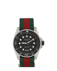 mehrfarbige horizontal gestreifte Uhr von Gucci
