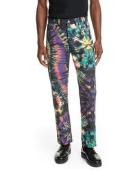 mehrfarbige Jeans mit Batikmuster