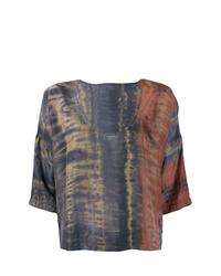 mehrfarbige Kurzarmbluse mit Batikmuster