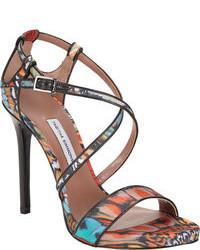 mehrfarbige Leder Sandaletten