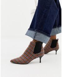 mehrfarbige Leder Stiefeletten mit Karomuster von Essentiel Antwerp