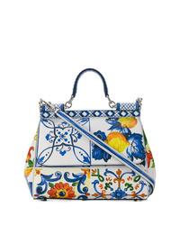 mehrfarbige Satchel-Tasche aus Leder von Dolce & Gabbana