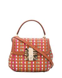 mehrfarbige Satchel-Tasche aus Leder von Serapian