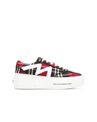 mehrfarbige Segeltuch niedrige Sneakers mit Schottenmuster von MSGM