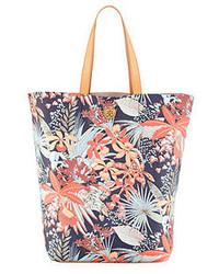 mehrfarbige Shopper Tasche aus Segeltuch mit Blumenmuster