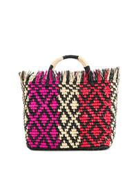 mehrfarbige Shopper Tasche aus Stroh