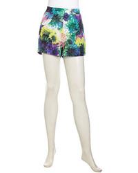 mehrfarbige Shorts mit Blumenmuster