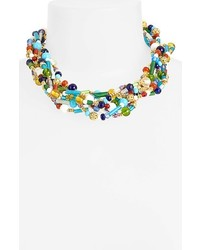 mehrfarbige verziert mit Perlen Halskette