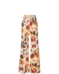 mehrfarbige weite Hose mit Blumenmuster von MSGM