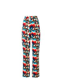 mehrfarbige weite Hose mit geometrischen Mustern von Marni