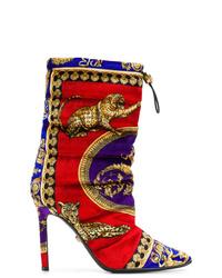 mehrfarbige Wildleder mittelalte Stiefel von Versace