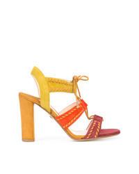 mehrfarbige Wildleder Sandaletten