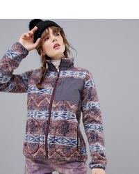 mehrfarbiger bedruckter Fleece-Pullover mit einem Reißverschluß von Burton Snowboards