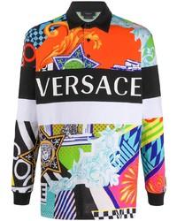 mehrfarbiger bedruckter Polo Pullover von Versace